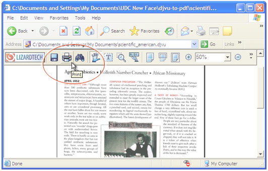 Open the DjVu file in Internet Explorer and press Print button in DjVu Browser Plugin toolbar.